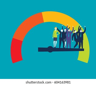 Detailed illustration of a customer satisfaction meter with Businesspeople
