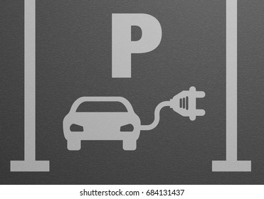 detailed illustration of an electric car parking lot, eps10 vector