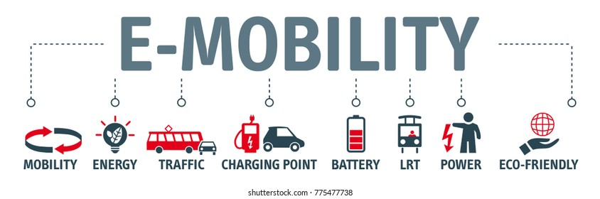 Detailed illustration of e-mobility concept. Banner with keywords and icons