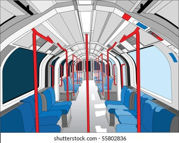 Detailed illustration of empty tube train carriage in London on the Central Line.