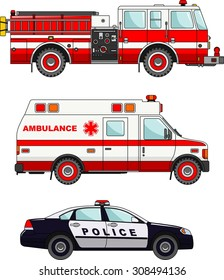 Detailed illustration of fire truck, police and ambulance cars in a flat style