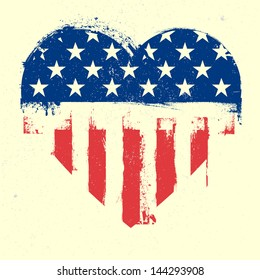 detailed illustration of a grungy heart with patriotic american flag, eps 10 vector