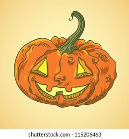 Detailed illustration of halloween pumpkin