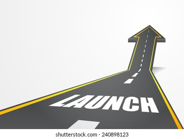 detailed illustration of a highway road going up as an arrow with launch text, eps10 vector