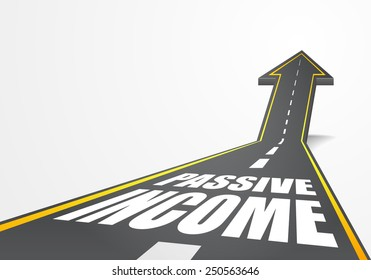 detailed illustration of a highway road going up as an arrow with Passive Income text, eps10 vector
