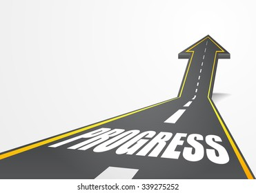 detailed illustration of a highway road going up as an arrow with Progress text, eps10 vector