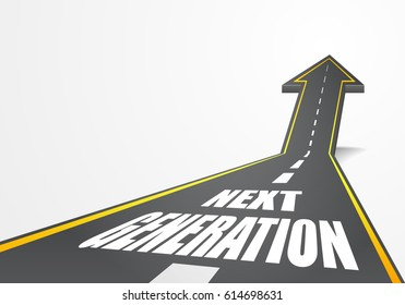 detailed illustration of a highway road going up as an arrow with next generation text, eps10 vector