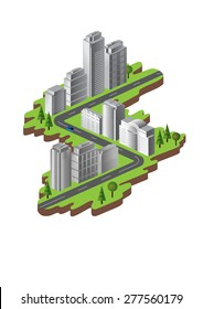 Detailed illustration of a Isometric buildings.