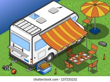 detailed illustration of a isometric camper in camping in rear view