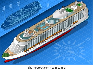 Detailed illustration of a Isometric Cruise Ship in Front View