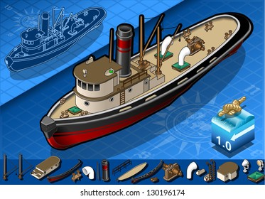 Detailed illustration of a isometric old tugboat