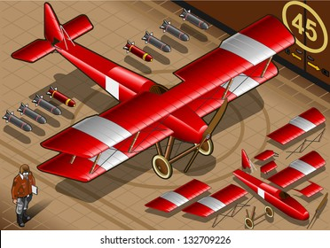 Detailed illustration of a Isometric Red Biplane Landed in Front View