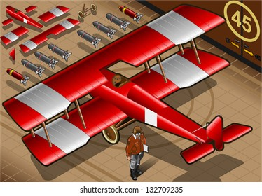 Detailed illustration of a Isometric Red Biplane Landed in Rear View