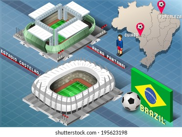 Detailed illustration of a Isometric Stadium of Cuiaba and Fortaleza, Brazil