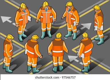 Detailed illustration of a Isometric standing foreman in eight positions