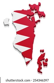 detailed illustration of a map of Bahrain with flag, eps10 vector