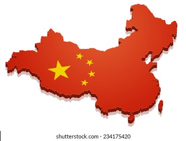 detailed illustration of a map of China with flag, eps10 vector
