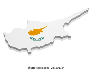 detailed illustration of a map of Cyprus with flag, eps10 vector