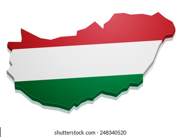 detailed illustration of a map of Hungary with flag, eps10 vector
