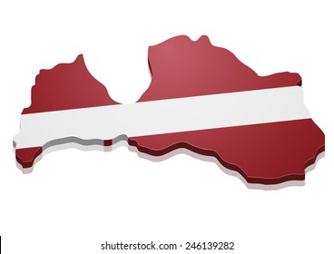 detailed illustration of a map of Latvia with flag, eps10 vector