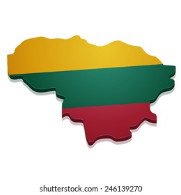 detailed illustration of a map of Lithuania with flag, eps10 vector