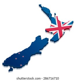 detailed illustration of a map of New Zealand with flag, eps10 vector