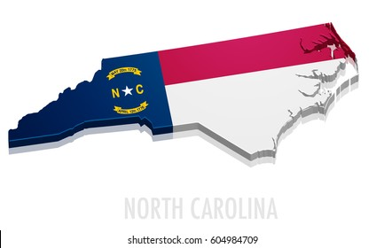 detailed illustration of a map of North Carolina with flag, eps10 vector