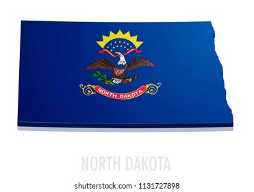 detailed illustration of a map of North Dakota with flag, eps10 vector