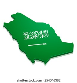 detailed illustration of a map of Saudi Arabia with flag, eps10 vector