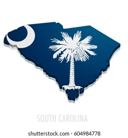 detailed illustration of a map of South Carolina with flag, eps10 vector
