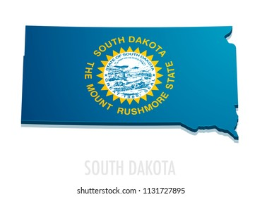 detailed illustration of a map of South Dakota with flag, eps10 vector