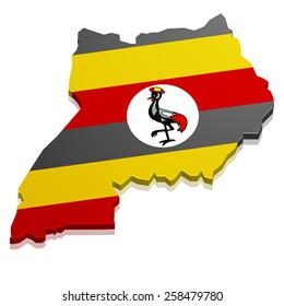 detailed illustration of a map of Uganda with flag, eps10 vector