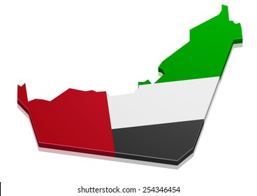 detailed illustration of a map of the United Arabian Emirates with flag, eps10 vector