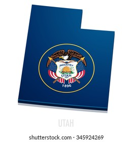 detailed illustration of a map of Utah with flag, eps10 vector