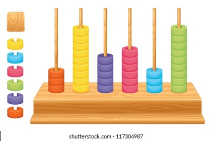 Detailed illustration of a mathematical place value abacus