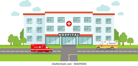 Detailed illustration of  medical center building and two ambulance cars in a flat style.