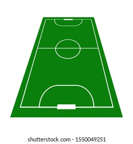 Detailed illustration of Mini football fields with perspective. Mini football field isolated on white background