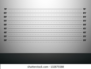detailed illustration of a mugshot background with inch scales, eps10 vector