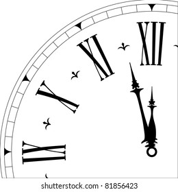detailed illustration of an old clock face showing 3minutes to twelve, eps8 vector