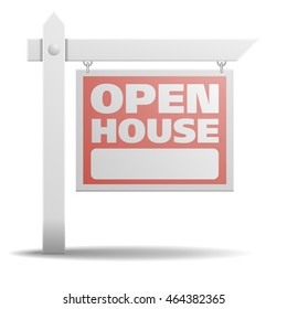 detailed illustration of a Open House real estate sign, eps10 vector