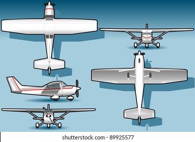 Detailed illustration of a orthogonal white plane in five position. Fully layered/grouped