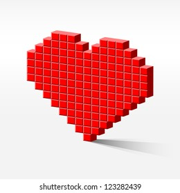 detailed illustration of a pixel heart in perspective, internet dating concept