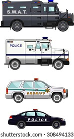 Detailed illustration of the police cars in flat style