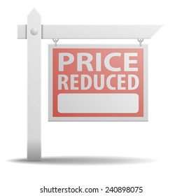 detailed illustration of a Price Reduced real estate sign, eps10 vector