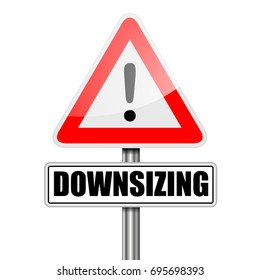 detailed illustration of a red attention Downsizing sign, eps10 vector