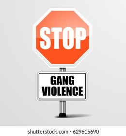 detailed illustration of a red stop Gang Violence sign, eps10 vector
