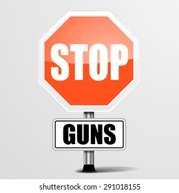detailed illustration of a red stop Guns sign, eps10 vector