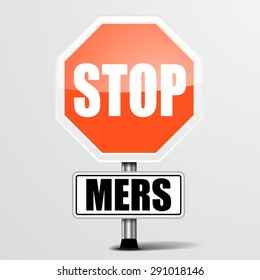 detailed illustration of a red stop MERS sign, eps10 vector