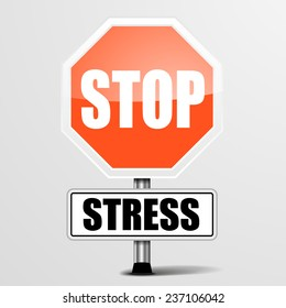 detailed illustration of a red stop stress sign, eps10 vector