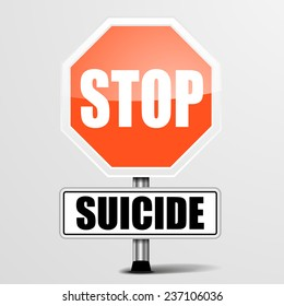 detailed illustration of a red stop Suicide sign, eps10 vector
